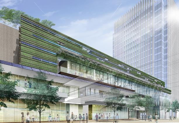 08_緑で覆われた商業施設の南側壁面イメージ のコピー